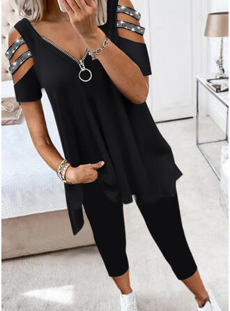 Solide pailletten Casual Grote maten hol uit Tweedelige outfits