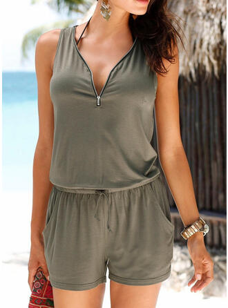 Solide V-hals Mouwloos Casual Sexy Romper