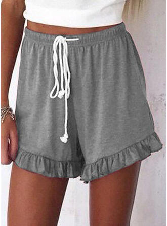 Shirred Grote maat Boven de knie Casual sportieve Shorts