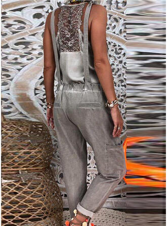 Solide Riem Mouwloos Casual Sexy Jumpsuit