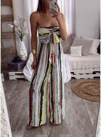 Streep Strapless Mouwloos Casual Sexy Jumpsuit