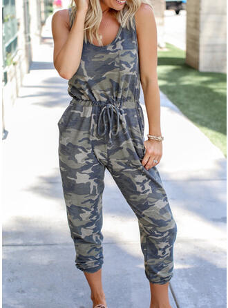 Print Ronde Hals Mouwloos Casual Jumpsuit