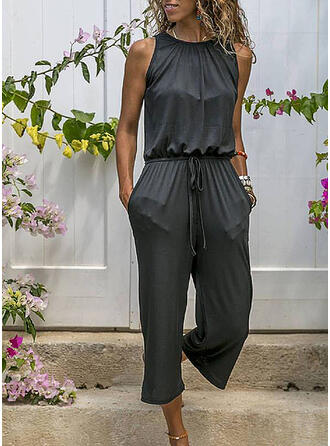 Solide Ronde Hals Mouwloos Casual Jumpsuit