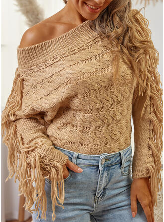 Solide Off-the-shoulder Casual Truien