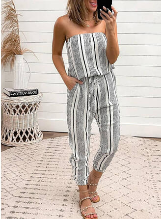 Streep Strapless Mouwloos Casual Vakantie Jumpsuit