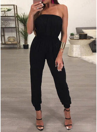Solide Strapless Mouwloos Casual Vakantie Sexy Jumpsuit