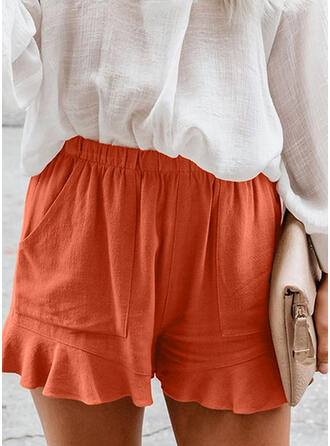 Kant Shirred Grote maat Boven de knie Casual Elegant Shorts