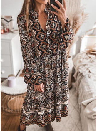 Print Lange Mouwen Shift Tunieken Casual/Boho Medium Jurken