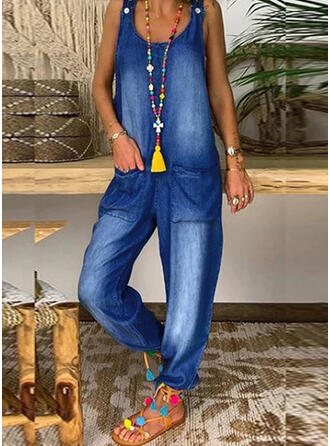 Solide Jean Riem Mouwloos Casual Jumpsuit