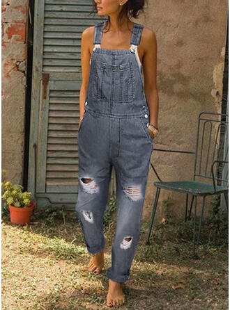 Solide Riem Mouwloos Casual Jean Jumpsuit