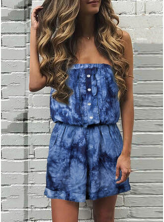 Print Strapless Mouwloos Casual Romper