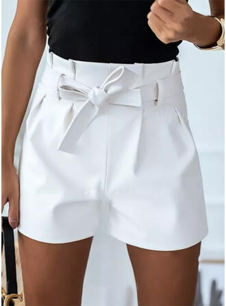 Solide Boven de knie Casual Grote maten lace up shirred Broeken Shorts
