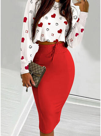 Hart Print Casual blouse & Tweedelige outfits Set