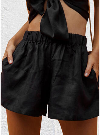 Solide Grote maat Casual Gewoon Shorts