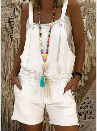 Solide Riem Mouwloos Casual Romper