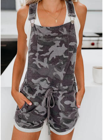 Camouflage Riem Mouwloos Casual Romper