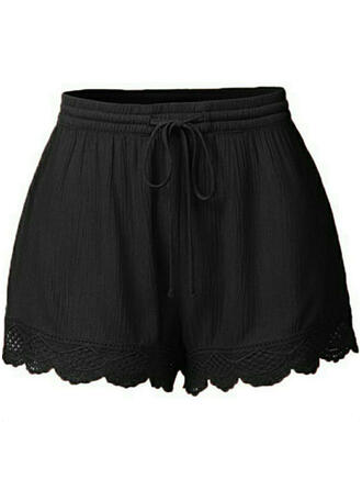 Kant Shirred Grote maat Boven de knie Boho Casual Sexy Shorts
