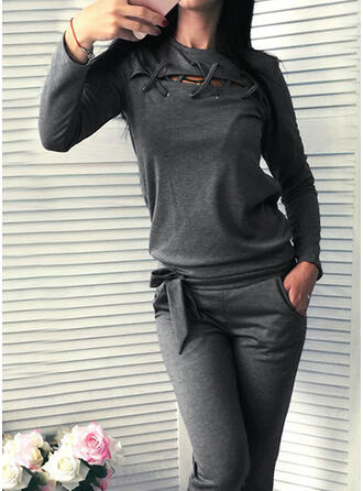 Solide Casual blouse & Tweedelige outfits Set