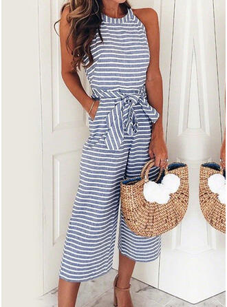 Streep Ronde Hals Mouwloos Casual Jumpsuit