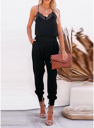 Solide Kant Spaghetti Mouwloos Casual Sexy Jumpsuit