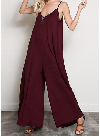 Solide Spaghetti-bandjes Mouwloos Casual Jumpsuit